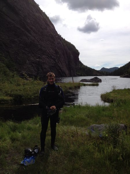 Brandon gearing up for a dip in Avalanche Lake.