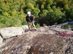 Rock Climbing Photo: Matt Peer at the Top Gear Belay of pitch three.