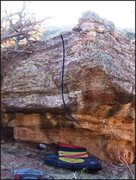 Rock Climbing Photo: Work Release problem on Keymaster Boulder.