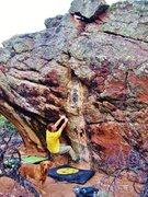 Rock Climbing Photo: Starting out the Saab-Like Ergonomics problem.