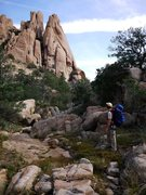 Rock Climbing Photo: Jay on the approach, with the profile of What's My...