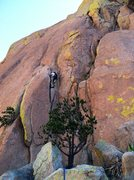 Rock Climbing Photo: Short pitch 2, Jay leading.  Crappy iPhone photo. ...