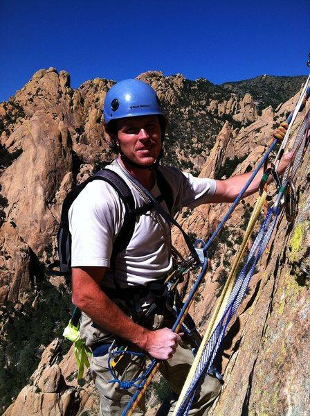 Rock Climbing Photo: Jay on the rap.  Sept 2012.