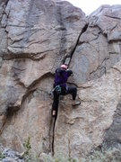 Rock Climbing Photo: Deb at the crux finger jams.