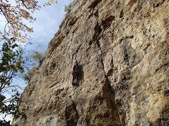 Rock Climbing Photo: good left hand to a . . .