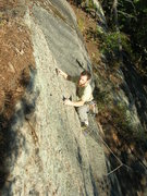Rock Climbing Photo: Lincoln Tetherly just above the roof on Spirit Gui...