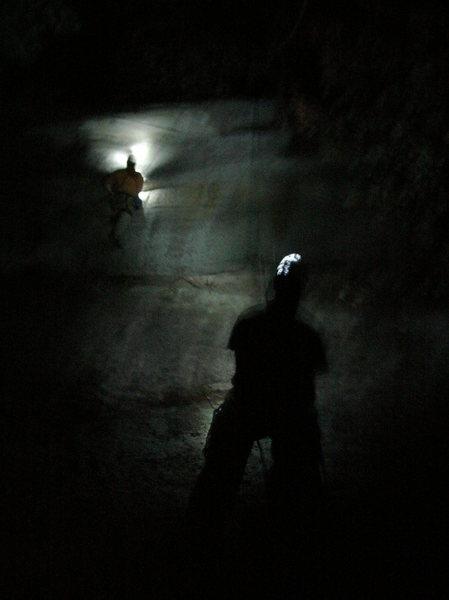 Night climbing by headlamp.