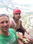 Rock Climbing Photo: Matt and I at a belay ledge on the Durrance route.