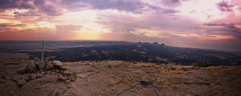 One of the best views I've had climbing.  The sun just about to set from the Summit of Devils Tower.  RAD!