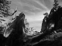 Rock Climbing Photo: The cairn in the notch will lead you to the rappel...