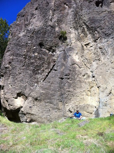Rock Climbing Photo: Cheese Us is the line on the left the rope is thro...
