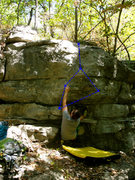 Rock Climbing Photo: Beta on photo. Topout is the harder part of the ro...