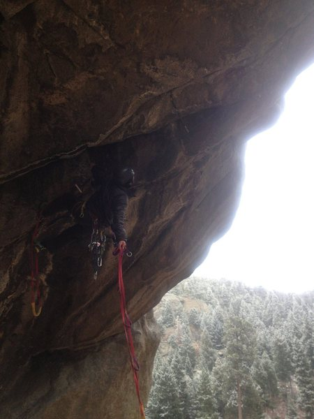 Rock Climbing Photo: Ryan re-aiding. Glad we're protected from the crap...