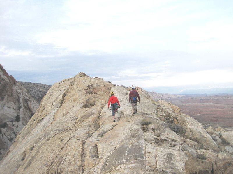 Walking up the summit ridge