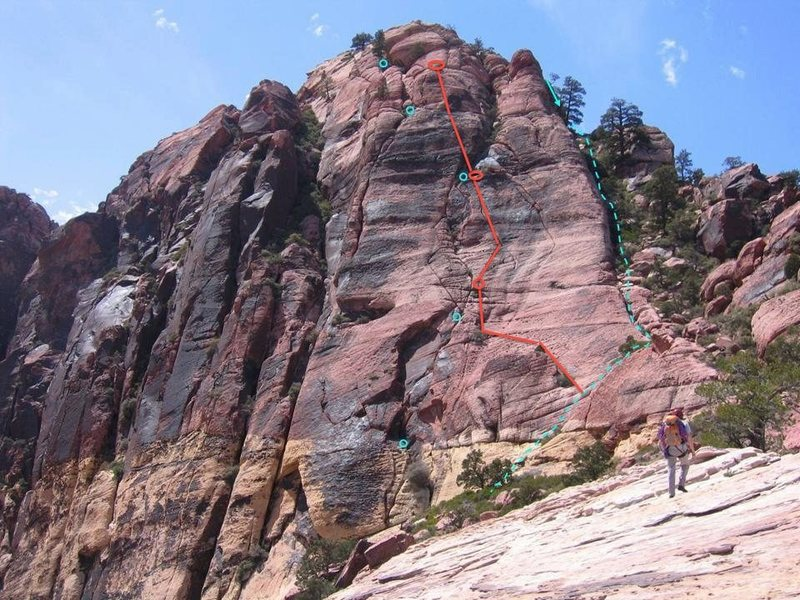 Another possibility:<br> scramble up to belay at the first red oval.  long pitch up the crack until the crack ends and ~20' above there's a decent ledge with a few scrub oaks.<br> The second pitch follows a pocketed groove up and slightly to the left.  ~55m long<br> From the top of the 2nd pitch, we coiled the rope, moved left and found an easy gully to the summit.