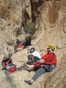 Rock Climbing Photo: Gearing up at the mouth of the gully