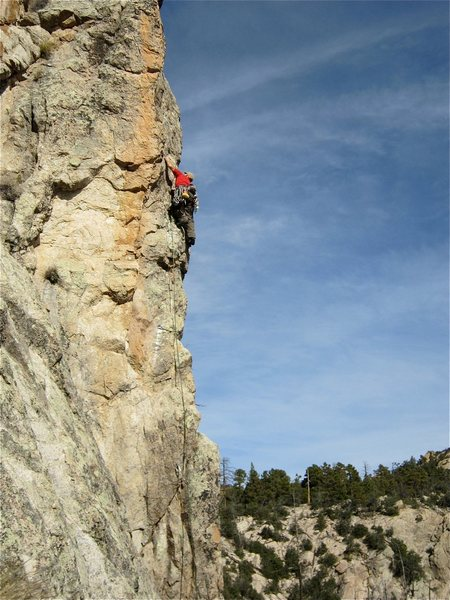 Rock Climbing Photo: Low down on the first pitch.  You can see the shor...