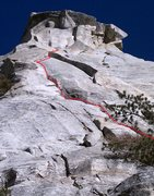 Rock Climbing Photo: Route overview. First half is 4th class and chimne...