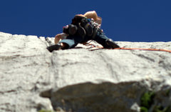 Rock Climbing Photo: Marc on the crux pitch heading for the canalones a...