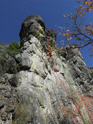 Rock Climbing Photo: routes left to right  1. Limestone Cowboy 5.12	 2....