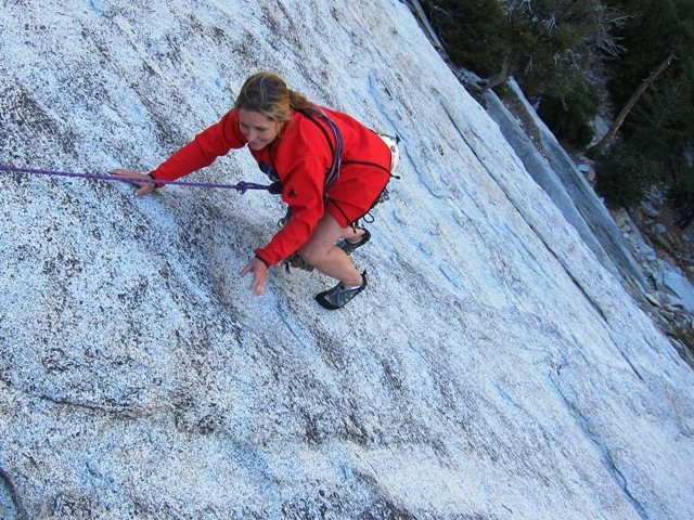 Rock Climbing Photo: Jean romps up the first pitch of Surprise