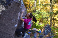 Rock Climbing Photo: On the upper moves.