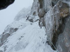 Rock Climbing Photo: Scotty Vincik leading the slabby, left facing corn...