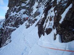 Rock Climbing Photo: Colin Haley on a high traverse on Ski Tracks