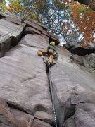 Rock Climbing Photo: Eric scampers up.