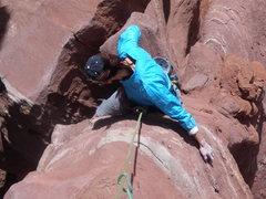 Rock Climbing Photo: Tammy heading up P3