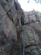 """Rock Climbing Photo: Line of """"Coup de Gras"""" marked in red."""