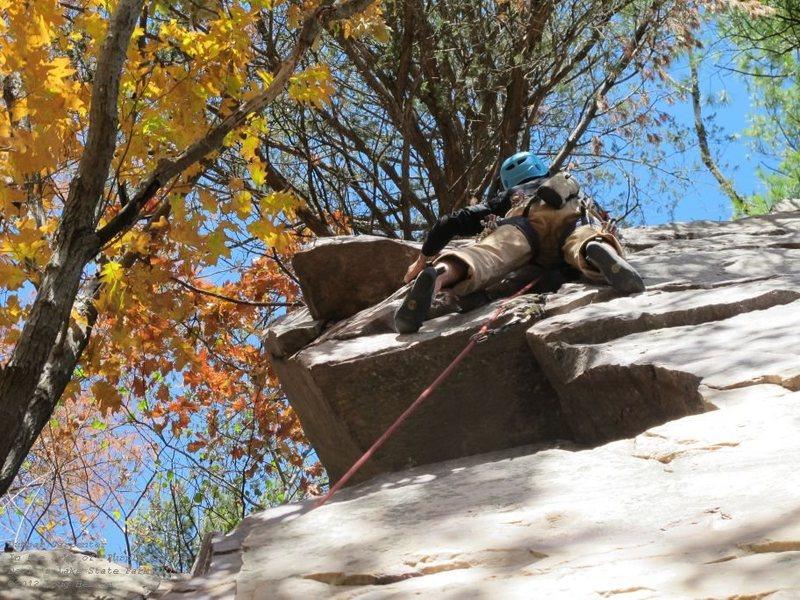 Rock Climbing Photo: Making the final stab. Good-ish gear.