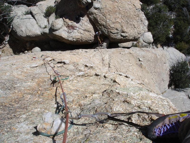 Rock Climbing Photo: First pitch from leader's point of view