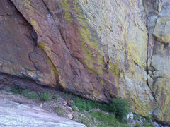 Rock Climbing Photo: Pitch 2, 11+ move passing the first bolt.