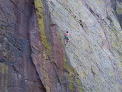 Rock Climbing Photo: Passing the 3rd bolt, second pitch.  During one of...