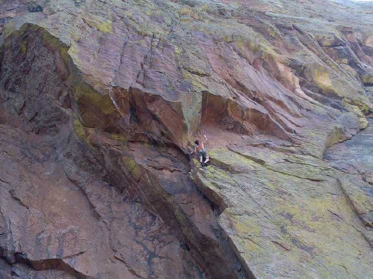 Rock Climbing Photo: Approaching the roof on pitch 2.  Have some small ...