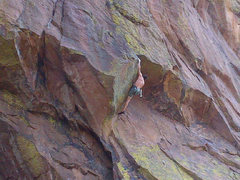 Rock Climbing Photo: The roof move, 11+, before the final head wall cra...