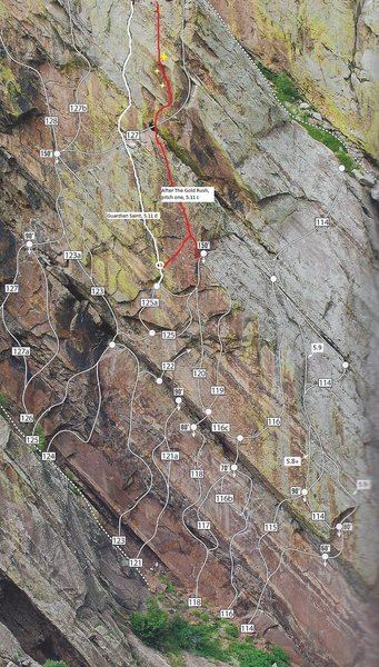 Pitch 1 topo.  Either start from the hanging belay on Guardian Saint or the p3 anchor on The Wisdom.  The Guardian Saint start has more gear before the key RP.