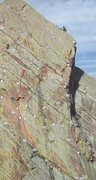Rock Climbing Photo: Pitch 2 topo.  It's about 150'.  Continue to the t...