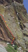 Rock Climbing Photo: Lower part of pitch 2.  Bring small gear for the c...