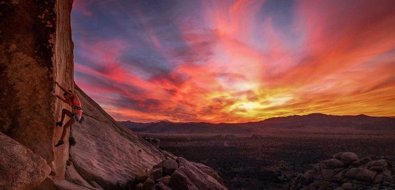 Rock Climbing Photo: Tia working on Split Personality at sunset.  Photo...