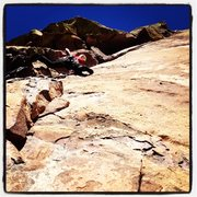 Rock Climbing Photo: Brent leading the Bombay Chimney pitch on The Nake...