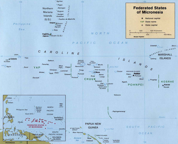 a map of the federated states of micronesia (FSM)