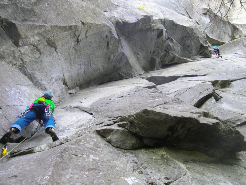 Rock Climbing Photo: D.J. Shalvey leading The Seal with another climber...