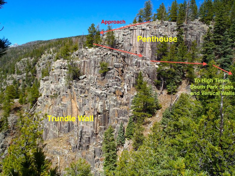 Rock Climbing Photo: Main single pitch crags.  Penthouse is primarily s...
