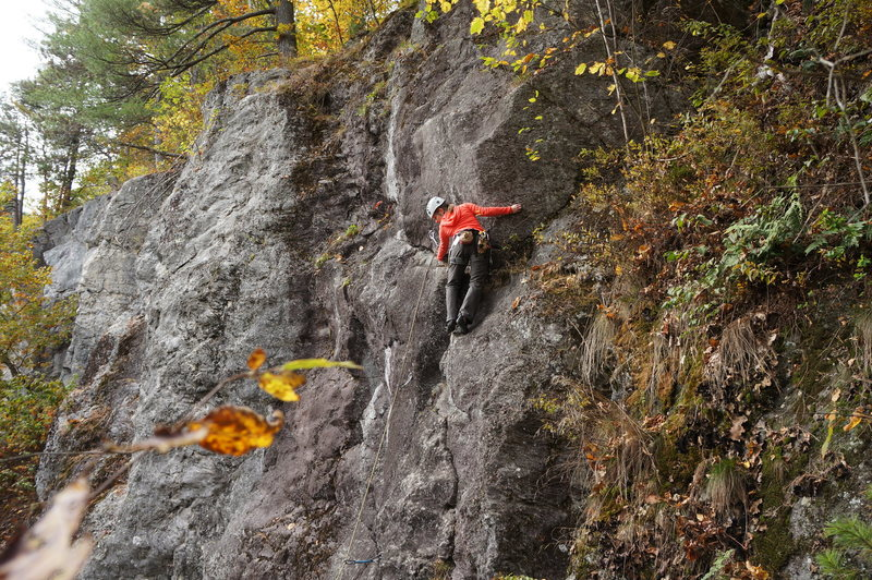 Rock Climbing Photo: Erin at the crux of the route.   It's blank and th...