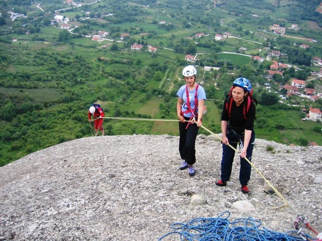 Austrian guide and clients in Meteora, Greece