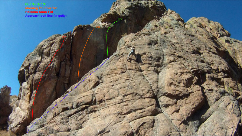 Overview topo of the left side of the Wipeyur Buttress. <br> <br> The dotted blue line shows the approach gully (hidden behind the slab in the foreground). <br> <br> Original photo credit: MP user BameR.