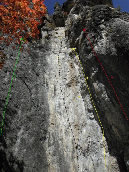 Rock Climbing Photo: 1. Tennis Ball 5.8  2. Tooth and Nail 5.12b/c  3. ...