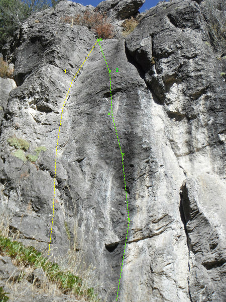 the farthest climb uphill on the right side of the ampitheatre.<br> 1. Lieback crack 5.8<br> 2. Black Knight 5.12 a/b